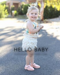 Wholesale Tank Tops For Baby Girls - Infant Baby Girls Clothing Sets Halter Tank Tops Tee Petal Pants Lace Tiered Flower Shorts Set Suits For Girl Summer Kids Outfits A6847
