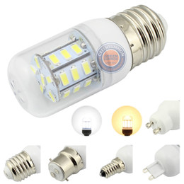 Wholesale E27 Led Bulbs 3w Corn - 4W 12V 24V LED E12 E14 E26 E27 B22 G9 GU10 27-5730 SMD WARM WHITE LIGHT BULB For Low Volta system Solar Camp Battery