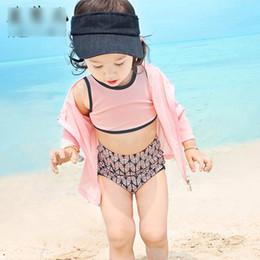 Wholesale Girls Swim Black - Fashion Korean Girls Swimwear Swimming Sets Spring Swim Sets Rash Guards Tops and Brief Shorts with Swim Caps 4pcs Set Sun Bathing A6947