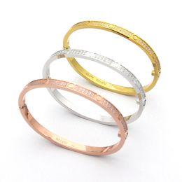 Encantos de pulseiras finas on-line-Amor de aço de titânio pulseiras para mulheres amantes fina completa com cz stone charm pulseira de chave de fenda pulseiras puleiras jóias da moda