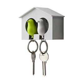 Wholesale Bird Keychains - Lovely Lover Duo 2 sparrows birds whistle keychains key ring chain with bird house holder