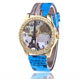 Wholesale Stainless Steel Slim Watch - New slim lady fashion watches Hot style set auger Paris Eiffel Tower watch fashion digital belt ladies watch Printing on the watch