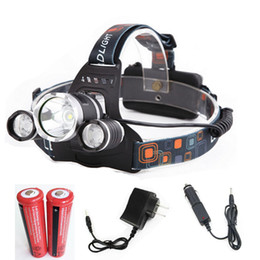 Wholesale T6 Led Spotlights - Waterproof Headlamp CREE XML T6 5000 Lumens 4 Mode LED Headlight Led Rechargeable Hunting Spotlight Lamp Head Light 18650(NO LOGO)