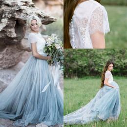 Wholesale Fairy Appliques - 2017 New Fairy Beach Boho Lace High-Neck A Line Wedding Dresses Soft Tulle Cap Sleeves Backless Light Blue Skirts Plus Size Bridal Gown
