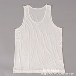Wholesale Double Knit Vest - Wholesale- Male silk vest 100% silk ultrafine double faced knitted basic vest