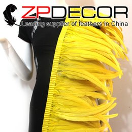 Wholesale Yellow Rooster Feathers - ZPDECOR Exporting 30-35cm(12-14inch) 1yard lot Handpicked Excellent Quality Bleach Dyed Yellow Rooster Tail Feathers Trim for Sale