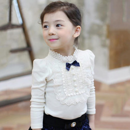 Wholesale Christmas Fashion Tshirts - 2016 Autumn Winter Girls Cotton Tshirt Baby Kids Bowknot Ruffles Long Sleeve Tops Warm T-shirts Children Princess Tshirts White Pink