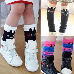 Wholesale Girl Above Knee Socks - Wholesale- 2016 Hot Girls Kids Lovely Cat Stripes Soft Cotton Above Knee High Tights Stockings 9TBI