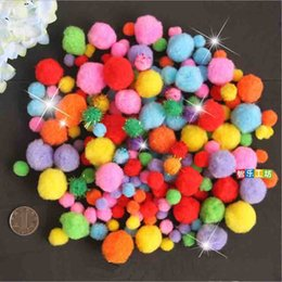 Wholesale Diy Doll Flowers - Wholesale- Children's day DIY Dolls Material Mixed Colors Plush Balls Unique Fur Ball Pompon Flowers For Home Decor