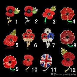 Distintivo britânico on-line-Royal British Legion broches De Cristal Vermelho Impressionante Poppy Flor Pinos para Lady Moda Emblema Broche Como Princesa Kate