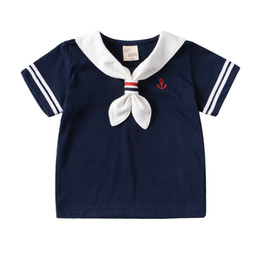 Wholesale Wholesale Prices For Clothing - Summer New Short-Sleeved Gentleman Navy T Shirt For Girls Boys Clothing Baby Top with Best Quality and Price 2108053