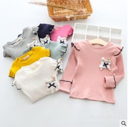 Wholesale Long Sleeve Cat Blouses - Kids fashion shirt girls cotton ruffle bows little cat long sleeve Rib comfortable blouses 2017 new autumn children cute clothing C0418