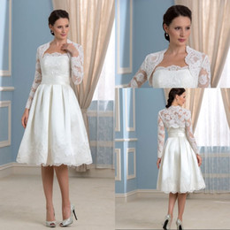 Wholesale Strapless Wedding Reception Dresses - Low Price A Line Strapless Knee Length White Satin Beach Reception Wedding Dresses With Long Sleeve Jacket Lace Short Wedding Gowns