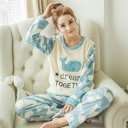 Wholesale Women Sleepwear Pajama Set - Wholesale- Flannel Pigiama Donna Pyjamas Women Pajamas For Women Winter Women Pajama Sets Pijama Sleepwear Feminino Pijama Mujer