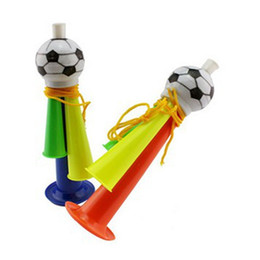 Wholesale Toy Christmas Horns - Wholesale-5 Pcs Stadium Fan Cheer Plastic Whistle Horn Loudspeakers Soccer Football Party Carnival Sports Games Toy Gift Noicemaker