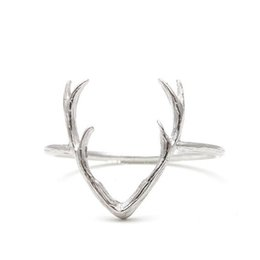 Wholesale Deer Stag - 2016 New Fashion Jewelry Rings Cute Animal Deer Antler Rings for Women Stag Animal Ring Party Christmas Gifts R136