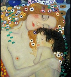Wholesale Klimt Mother Child - Framed mother and child by Gustav Klimt,Free Shipping,Genuine Handp Painted Portrait Art oil Painting On Thick Canvas Multi Sizes Kl006