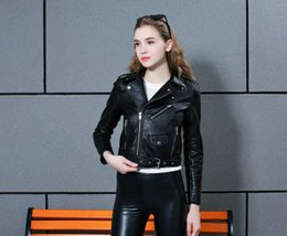 Wholesale Leather Bolero - Fashion Wedding Accessories Black Red Yellow Leather Jacket For Young Lady 2017 Fall Long Sleeves Bolero Casual Wear