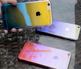 Wholesale Case Back Plate Iphone - Gradual Color Change Electro Plating Mobile Case Ultra Thin Full Cover Protection Back Cover Hard Mobile Case For Iphone 7 & 7Plus