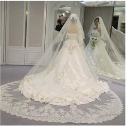 Wholesale Lace Cathedral Veil Blusher - Gorgeous New Bridal Veil with Blusher Wide Applique Beaded Tulle White Ivory Wedding Veil 2017 Custom Veil with Comb