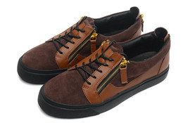 Wholesale Fashoin Shoes - New Fashoin Coffee Suede And Brown Leather With Double Gold Zipper Mens and Womens Shoes,Zanottys Low Top Thick Soles Casual Sneakers