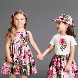 Wholesale White Knee Length Frocks - kids clothes summer children casual frock design rose flower girl dresses for kids princess beach dress