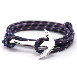 Wholesale Anchor Jewelry Charms - Fashion Jewelry Multilayer Risers Silver Alloy Anchor Bracelet Men Leather Bracelet for Women&Men friendship bracelets