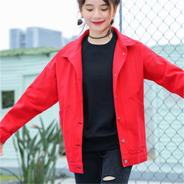 Wholesale Korean Red Trench Coat - 2017 new autumn ladies jacket Korean style School wind loose long trench coat all-match denim outerwear Red Black (S-M-L)