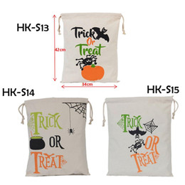 Wholesale Decoration Spider - Newest Halloween Sacks Candy Gifts Bag 34X42CM Treat & Trick Drawstring Bags Cotton Canvas Kids Pumpkin Spider Tote Bag 0708087