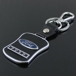 Wholesale Ford Focus Key Chains - 5pcs lot Leather Car Keychain Logo Key Ring Curved Shape Key Components Fashion Men's Waist Key Chain For Ford Focus 2 3 Chaveiro Llaveros