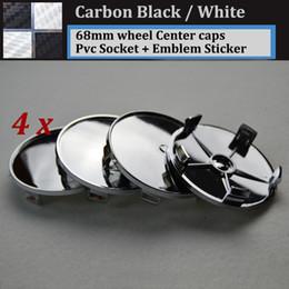 Wholesale E46 Wheels - Carbon fiber black white 68mm 2.68inch pvc badge car wheel center Hub Caps Emblem Rims car caps for E46 E36 E39 E38 E90 E60 M3 M5