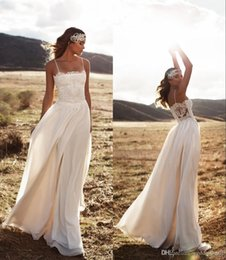Wholesale Simple Vintage Line Wedding - Vintage Lace Beach Wedding Dresses Spaghetti A-line Chiffon Floor Length Bridal Dresses Simple Cheap Wedding Gowns