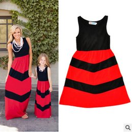 Wholesale Womens Long Black Vest - Mother and dauther dresses girls princess vest dress womens black red splicing stripe long dress bohemia style family beach clothing T3402