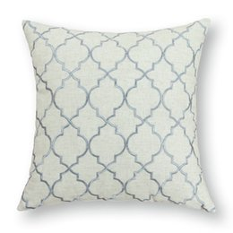 Calitime Cushion Cover Pillows Shell Home Decor Poly Linen Blend Modern Trellis Chain Accent Stone Gray 17 X17 43cmx43cm