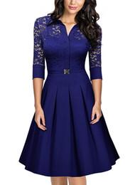 Wholesale Half Slim Size - New 2017 Women OL Lace Emboridery Dress Fashion Slim Multicolor Slim Dress Half Sleeve Knee-Length Dresses Plus Size S-XXL