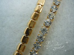 Wholesale Chains Meters Gold - 888 crystal rhinestone SS18 close chain trims golden silver 6.6 meter Sewing Accessories