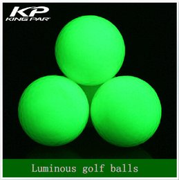 Wholesale Light Glow Balls - Wholesale- Fluorescent Night luminous indoor golf 4 light balls glow in the dark for practice golf training sports Two piece ball