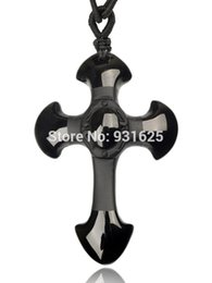 Wholesale Hand Carved Crosses - Wholesale Natural Black Obsidian Carved Cross Lucky pendant free beads necklace for woman man Hand carved Pendants Jewelry
