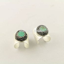 Wholesale Silver Plating Jewelry Ring Findings - Fashion ~ 5pcs Silver Plated Pave Rhinestone Crystal Turquoise Rings Charms Jewelry Finding