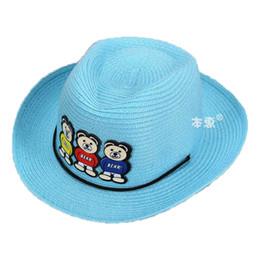 Wholesale Little Bear Hat - Wholesale 5 pcs Unisex Summer Sun Cap Kids Three Little Bear Design Outdoors Sun Protective Beach Hats 2017 MZ4733