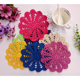 Wholesale Free Crochet Placemats - Free Shipping Wholesale Household DIY Handmade Flower Crochet Doilies 30pcs lot Round Cup Mat Pad 14-15CM Coaster Placemats