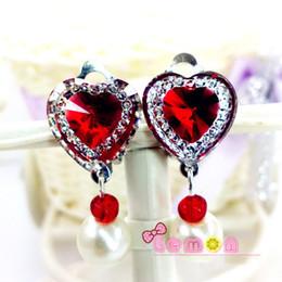 Wholesale Pearl Clip Dangle Earrings - 5Pairs lot Romantic Crystal Children Jewelry Baby Girl Earrings Kids Ear Clip no Piercing Earrings Imitation Pearl Earrings Jewelry H8