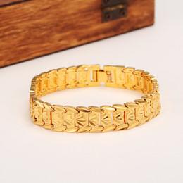 joyas 24k oro dubai Rebajas Nuevos clásicos eternos Pulsera ancha 24k Real Solid Gold Gold GF Dubai Bangle Mujeres Hombres Moda Banda de reloj de mano Joyería de cadena