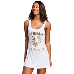 Wholesale Black Swim Cover Up Dress - Sexy Beach Tunic Saida de Praia 2017 Women Beachwear Female Black Graphic Tank Swim Cover Up Dress Robe De Plage