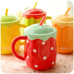 Wholesale Large Spoons - Creative Large Capacity Cups Cute Color Fruit Mug With Cover Spoon Environmentally Ceramic Juice Cup 2017 Fashion Home Drinkware Wholesale