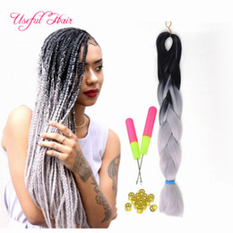 Ombre blue,grey,pink,blue jumbo braiding hair synthetic two tone color JUMBO BRAIDS bulks extension cheveux 24inch ombre box braids hair Coupon