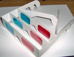 Wholesale Frames Papers - 1000pcs Red Blue and Red Green Paper 3D Glasses Paper Frame Resin Lens 3D Paper Glasses