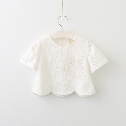 Wholesale Girl Tees - Everweekend Girls Lace Embroidered Summer Cotton Tees Asymmetric Princess White Blouse Tops