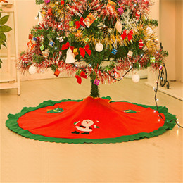 "Wholesale Xmas Felt Ornaments - Wholesale-Handmade Red &Green 90cm 35"" Diameter CHRISTmas Tree Skirt Felt Applique Santa Claus Christmas tree skirts Xmas tree decorations"