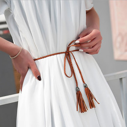 Wholesale Designer Pants For Lady - Wholesale- Knitted Ladies Female Luxury Strap Brand Designer High Quality PU Leather Women Wedding Narrow Belts Waist for Jeans Pants Dress